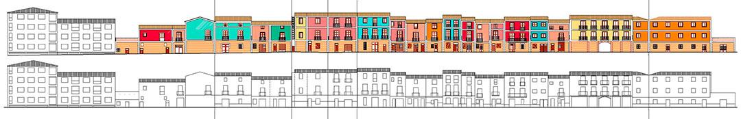 Alzado desarrollado del conjunto | Restauración del entorno urbano del Santuario de la Santa Faz