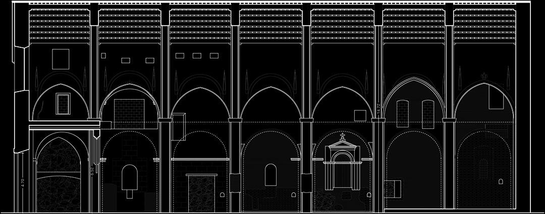 Sección longitudinal estado previo | Restauración litúrgica de la Iglesia de Sant Francesc de Xátiva (Valencia)