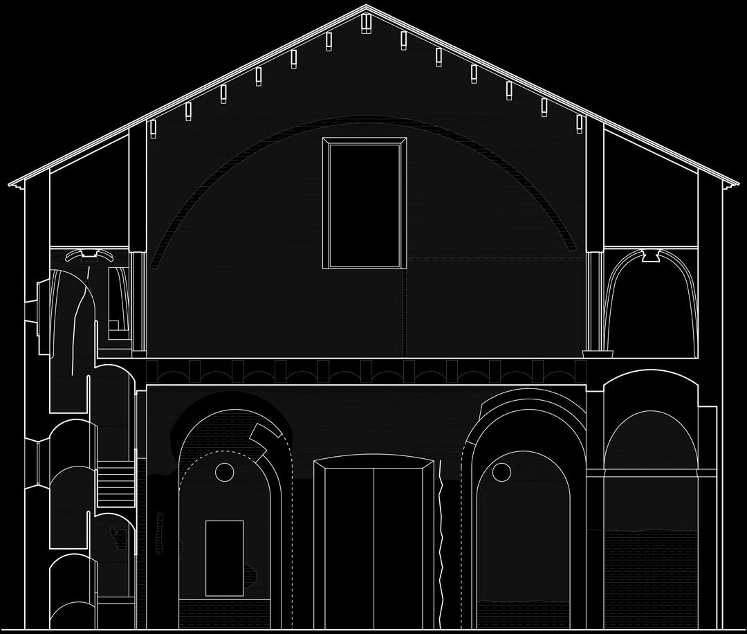 Sección transversal coro estado previo | Restauración litúrgica de la Iglesia de Sant Francesc de Xátiva (Valencia)