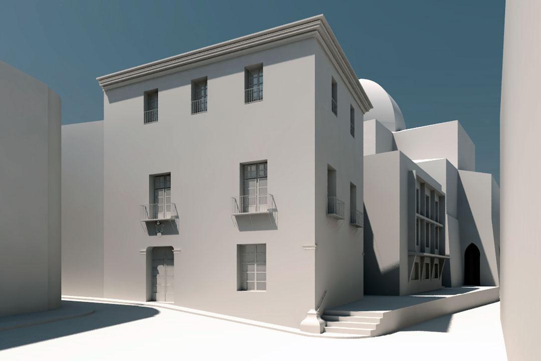 Infografía estado reformado | Rehabilitación del Centro Olivense, Casa de la Cultura de Oliva