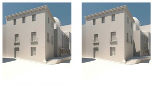 Volumetría estado actual y proyecto, desde plaza | Rehabilitación del Centro Olivense, Casa de la Cultura de Oliva