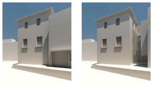 Volumetría estado actual y proyecto, desde calle | Rehabilitación del Centro Olivense, Casa de la Cultura de Oliva