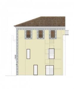 Alzado oeste, estado proyecto | Rehabilitación del Centro Olivense, Casa de la Cultura de Oliva