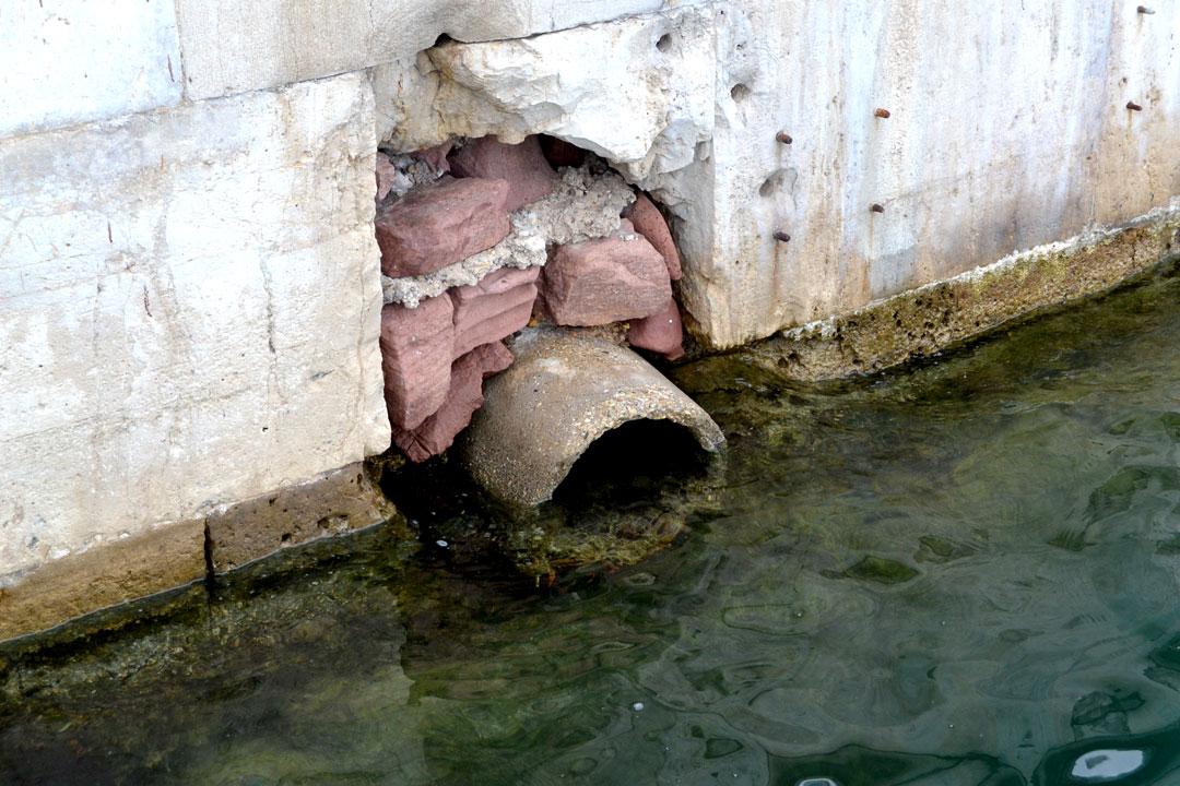 Vertido de pluviales a la dársena de la Marina Real juan Carlos I de Valencia