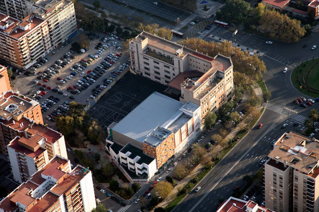 Vista aérea del colegio El Pilar de Valencia