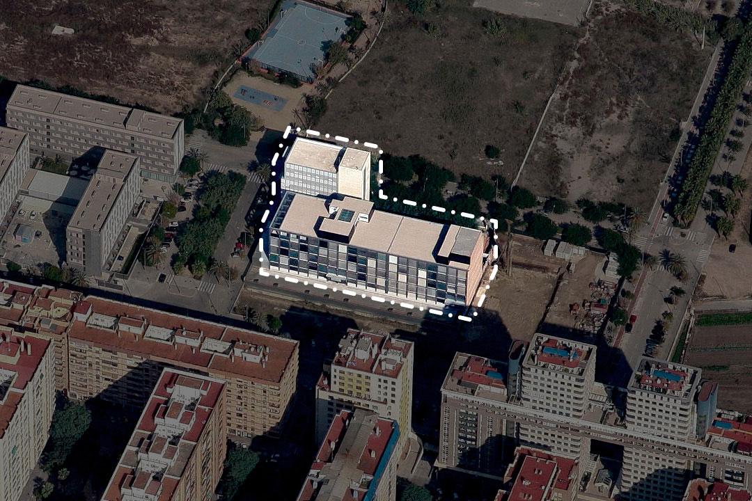 Vista aérea Sanchis Guarner e Instituos de la Univesitat de València, Campus de Tarongers