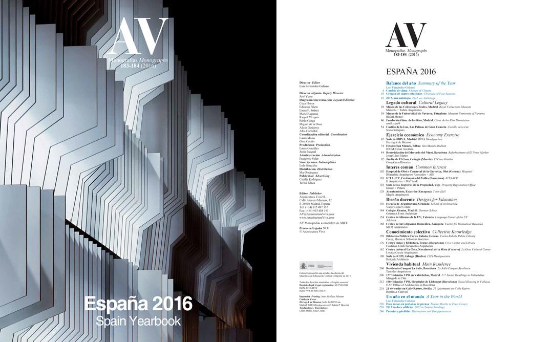Arquitectura Viva. Monografias 183-184. Anuario 2016. Publicación del Centro de Idiomas de la Universidad de Valencia