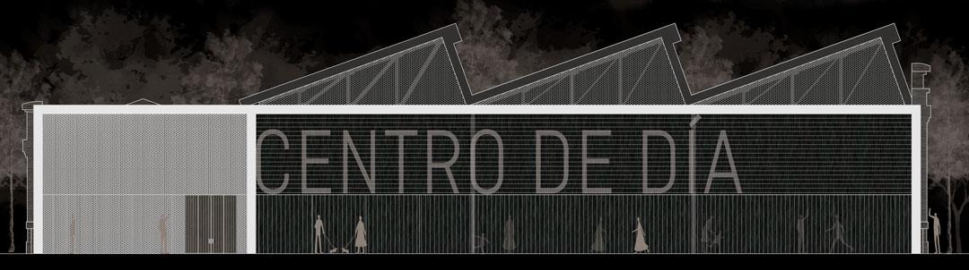 Fachada propuesta | Habilitación de Centro de día municipal para jóvenes y Centro municipal de Servicios Sociales en Nave 4 de Parque Central, Valencia