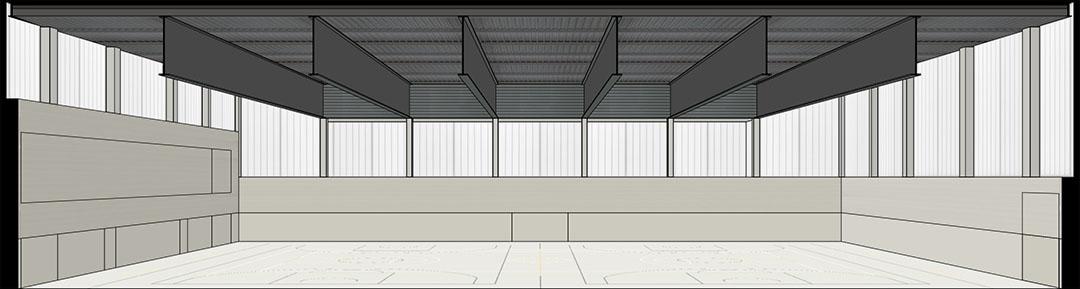 Sección interior fugada | Proyecto de pabellón polideportivo auxiliar del pabellón 9 d'Octubre de Algemesí