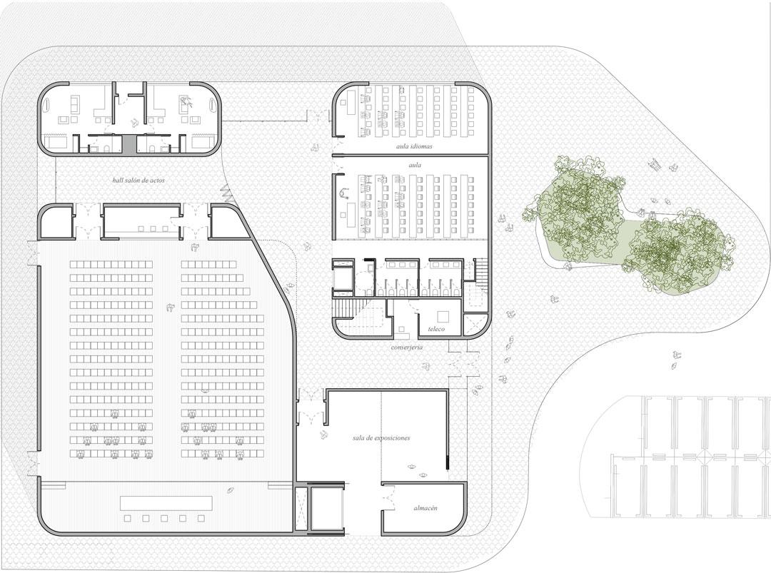 Planta primera | Nuevo proyecto de edificio `Multiusos´ al Campus de Altea de la Universidad Miguel Hernandez de Elche, Alicante